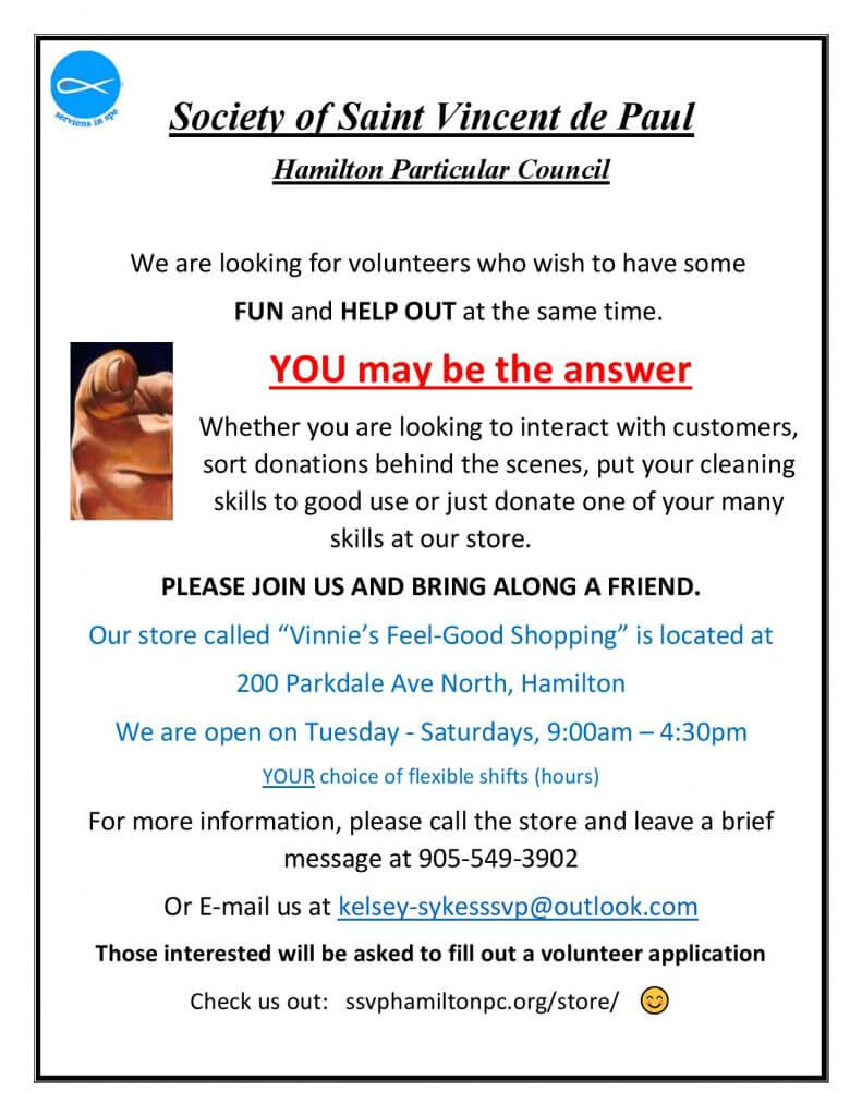 wanted volunteers for stores